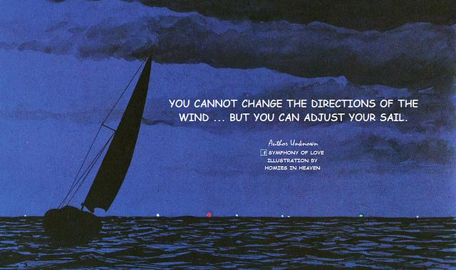 You cannot change the directions of the wind ... but you can adjust your sail