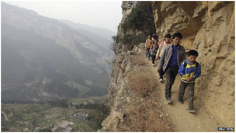 Children perilous journey to school in Guizhou, China