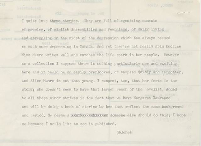 Alice Munro's rejection letter