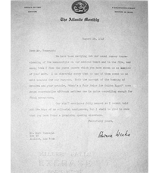 Kurt Vonnegut's rejection letter