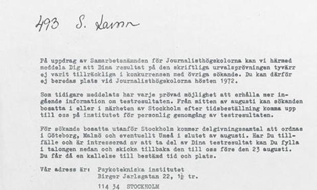 Stieg Larsson's rejection letter