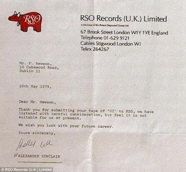 U2's rejection letter