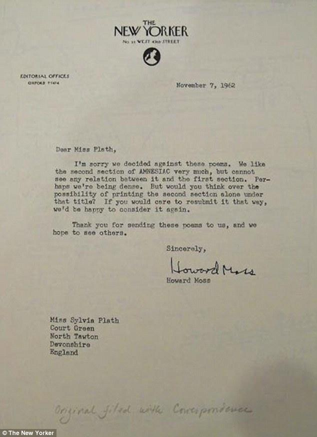 Sylvia Plath's rejection letter