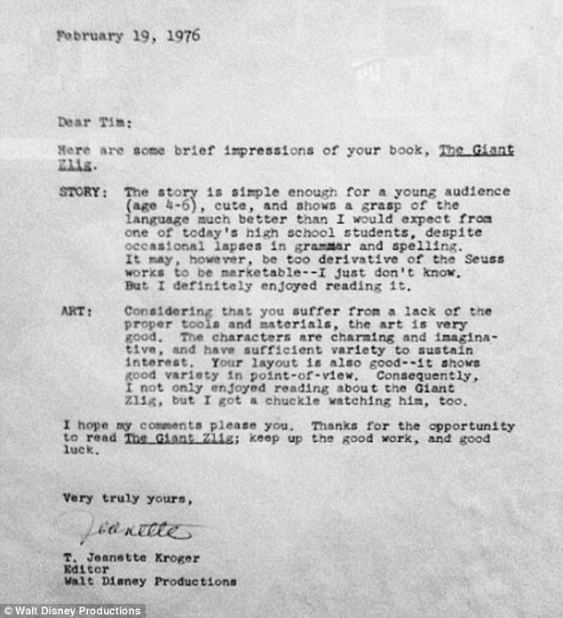 Tim Burton's rejection letter from Walt Disney Productions