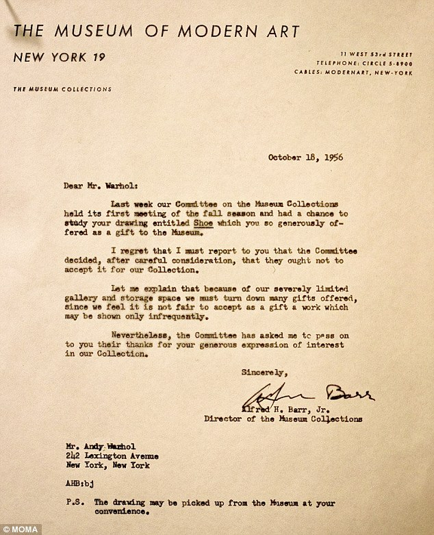 Andy Warhol's rejection letter