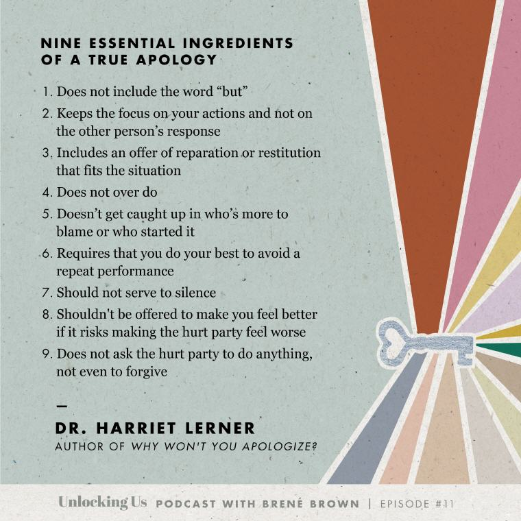 Dr. Harriet Lerner Nine Essential Ingredients of a True Apology